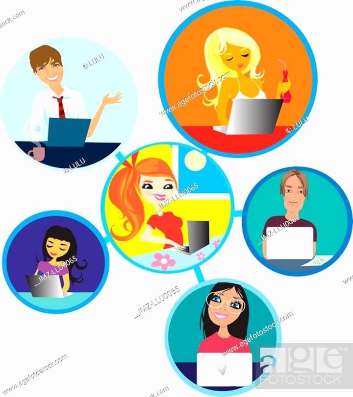 Stock Photo: A depiction of an online network of people using their computers.