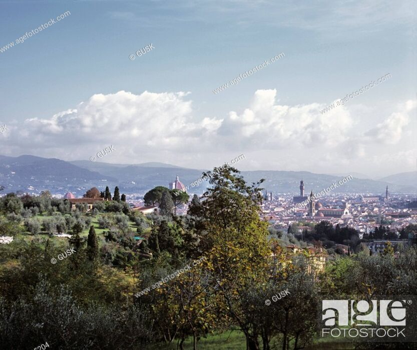 Stock Photo: Panoramic view of a cityscape, Florence, Italy.