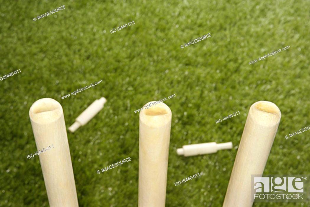 Stock Photo: Cricket stumps.