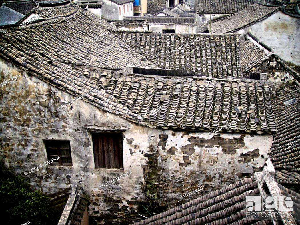 Stock Photo: house roofs at zhouzhuang ancient water town in china.