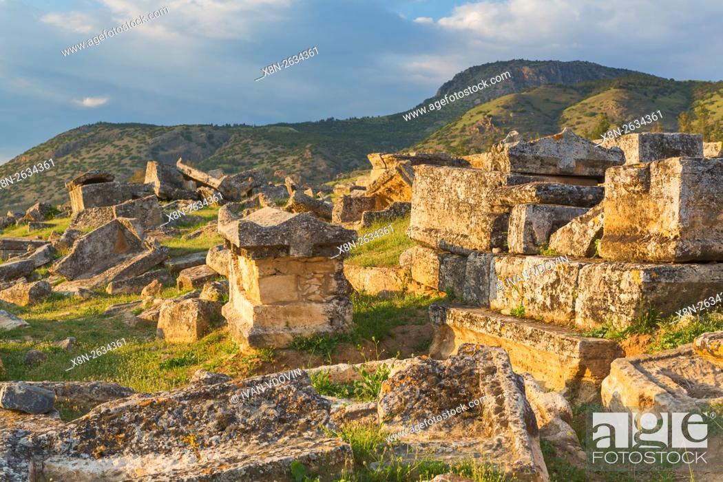 Stock Photo: Necropolis, ruins of ancient Hierapolis, Pamukkale, Denizli Province, Turkey.