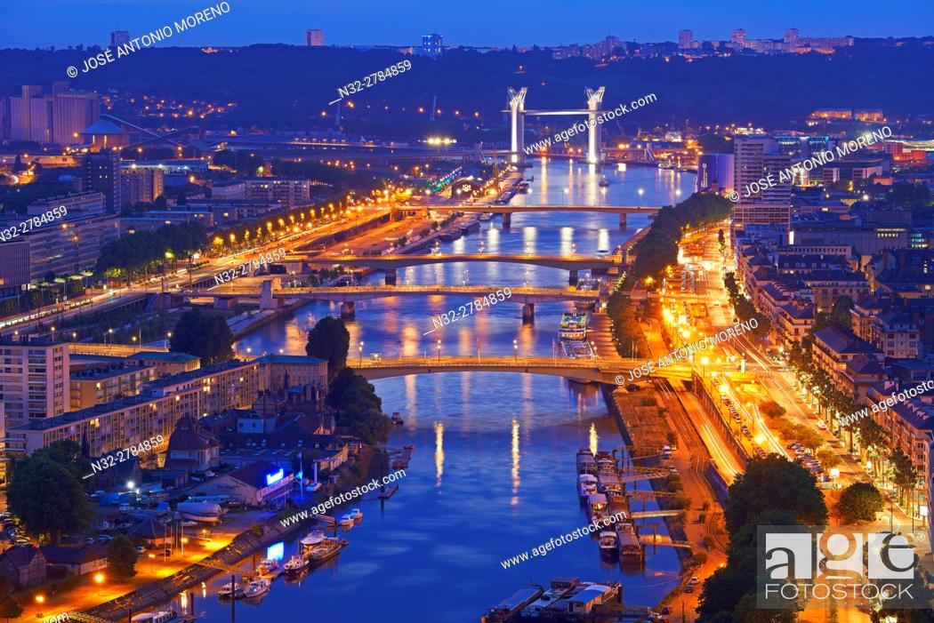 Stock Photo: Rouen, Seine river, River Seine, Dusk, Haute Normandie, Seine Maritime Department, Normandy, France.