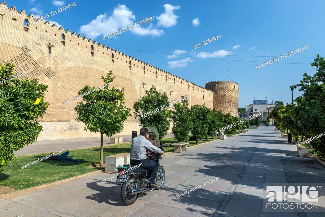 Stock Photo: Promenade next to Castle of Karim Khan citadel (Arg-e Karim Khan) build during Zand dynasty in Shiraz city, capital of Fars Province in Iran.