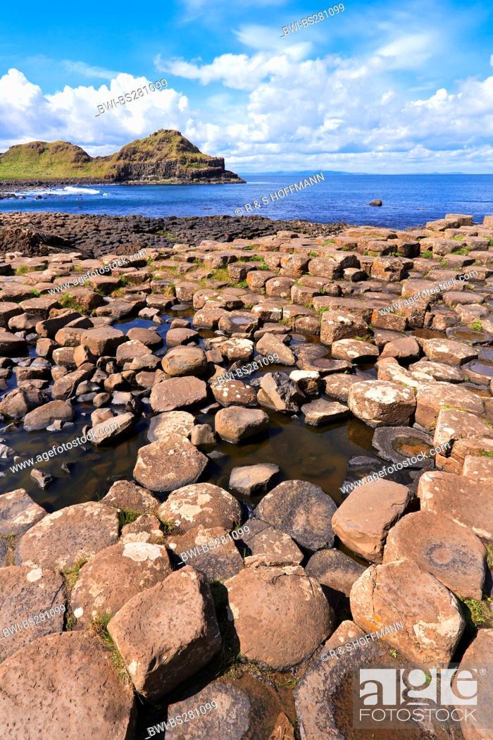 Stock Photo: columnar basalt of Giant's Causeway, Ireland, Northern Ireland.