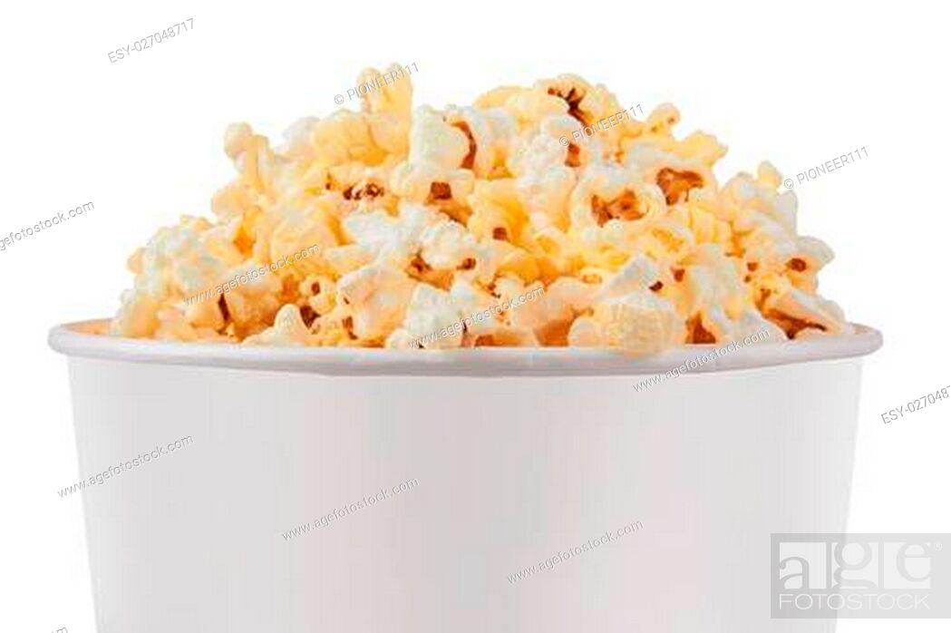 Stock Photo: Full bucket of popcorn. Isolated on white.