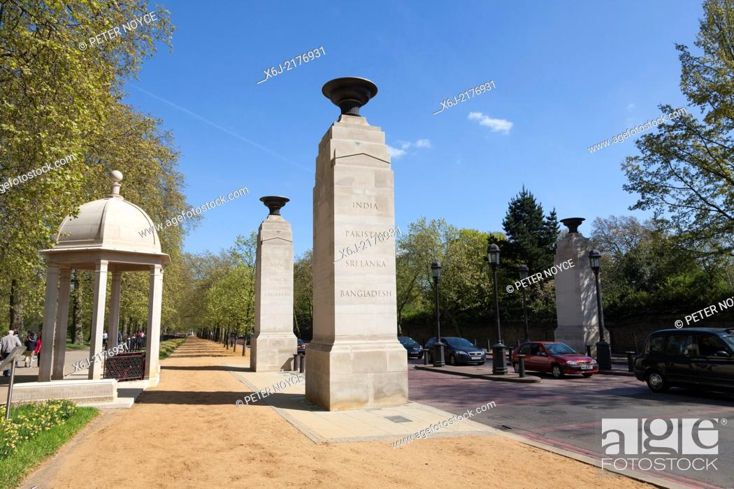 Stock Photo: Memorial Gates at the end of Constitution Hill commemorate the Armed Forces of the British Empire from Africa, the Caribbean and the Indian subcontinent.
