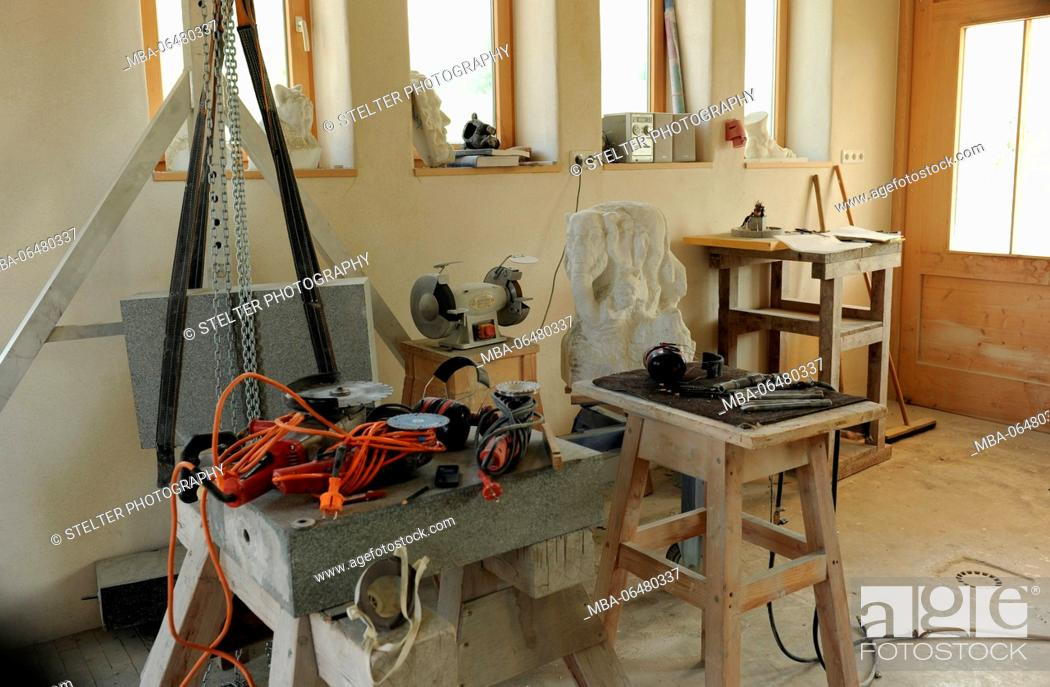 Stock Photo: Stonecutter workshop, tools and accessories.