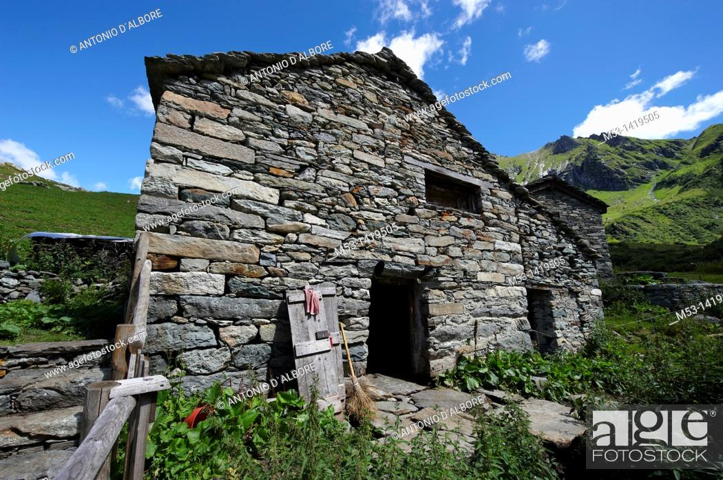 Stock Photo: Walser stable for sheeps and cows at Alpe Campo  Alagna Valsesia municipality  Province of Vercelli  Piedmont  Italy.
