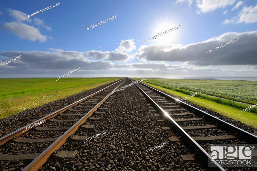 Stock Photo: Railway track, Germany, Schleswig Holstein, Sylt, North Frisian Islands, North Sea,.