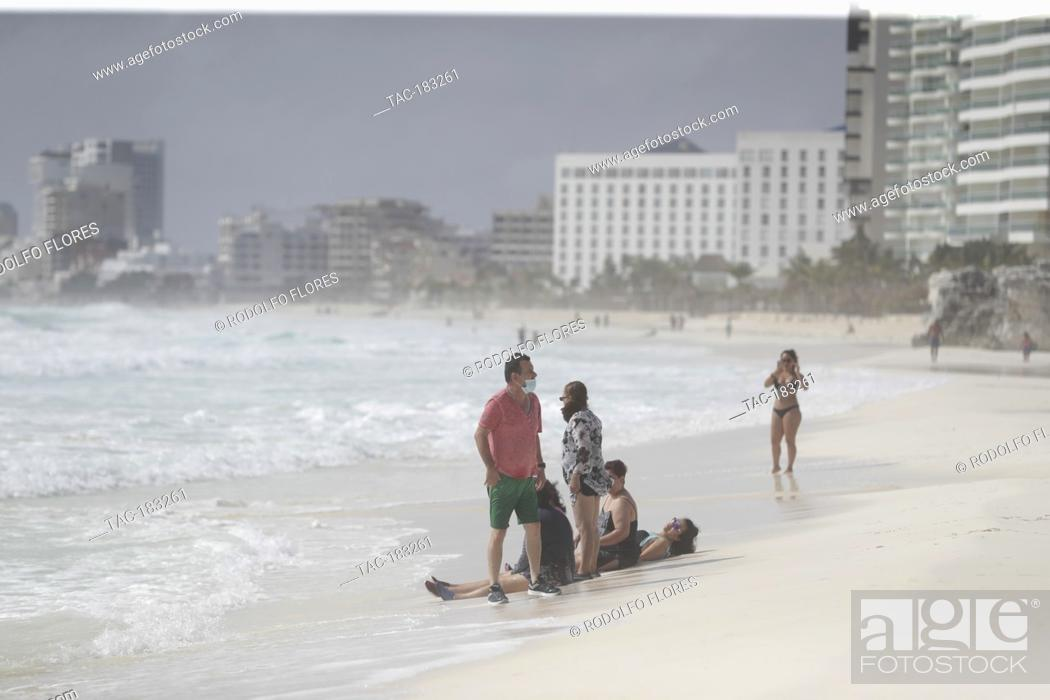 Stock Photo: CANCUN, MEXICO - OCTOBER 26: Inhabitants of Mexican Caribbean take precautions due to the arrival of Tropical Storm Zeta.