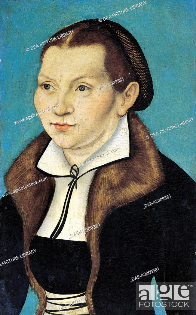 Stock Photo: Portrait of Katharina von Bora wife of Martin Luther, 1529, by Lucas Cranach the Elder (1472-1553), oil on panel, 37x23 cm.