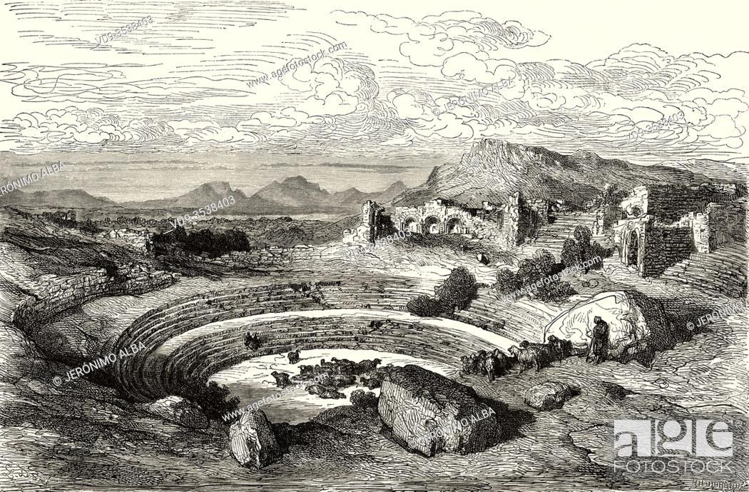 Stock Photo: Ruins of the Roman theatre of Merida, Extremadura, Spain, Europe. Old 19th century engraved illustration, El Mundo en la Mano 1878.