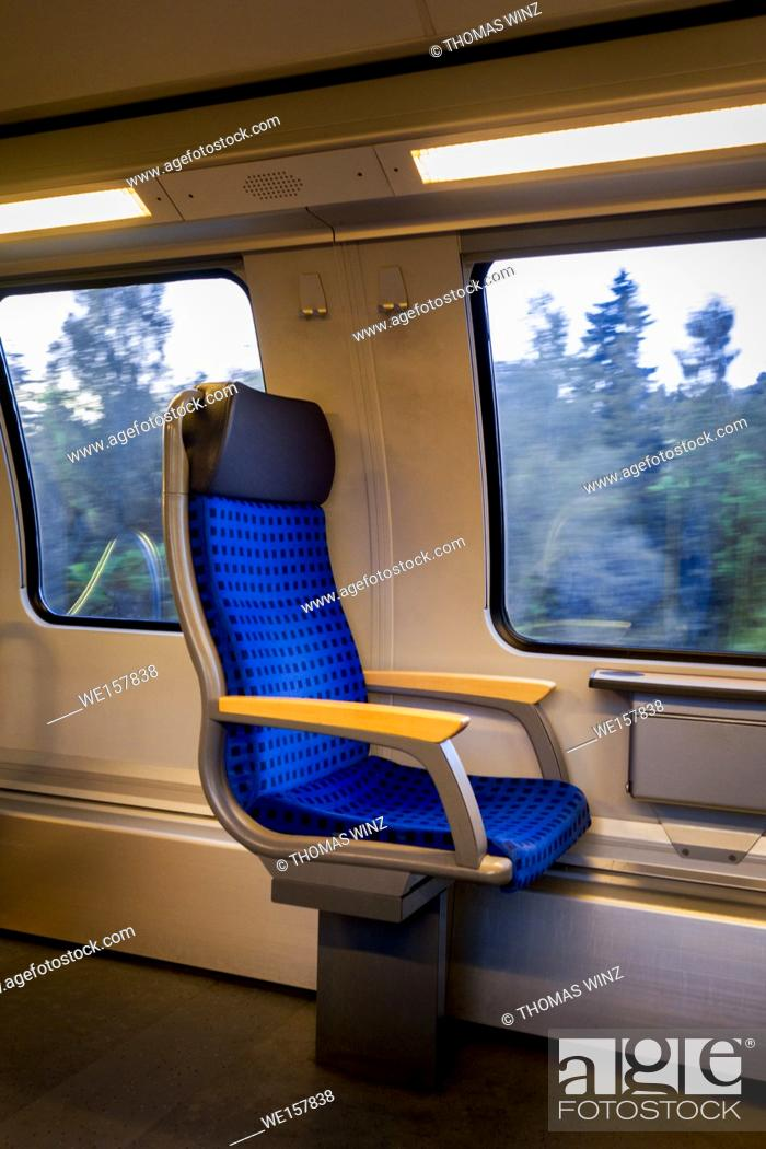 Stock Photo: Single seat in a train , Germany.