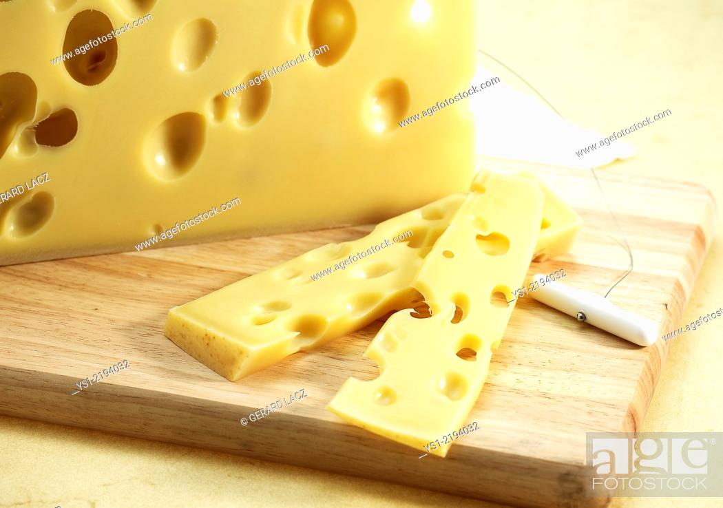 Stock Photo: Emmental, Swiss Cheese produced from Cow's Milk.