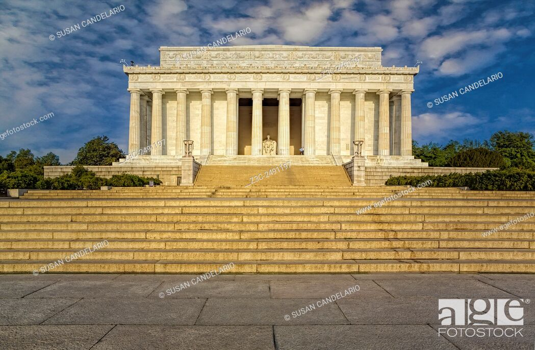 Stock Photo: Abraham Lincoln Memorial - A view from north to south of the exterior of the Lincoln Memorial in Washington DC.