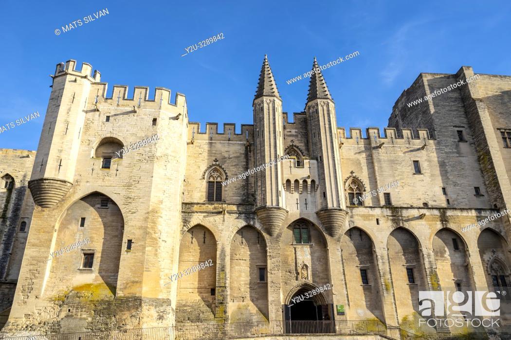 Stock Photo: Palais des Papes in Avignon, France.