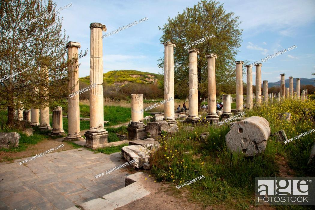 Stock Photo: Portico of Tiberius was constructed during the reign of Emperor Tiberius 14-37 AD.