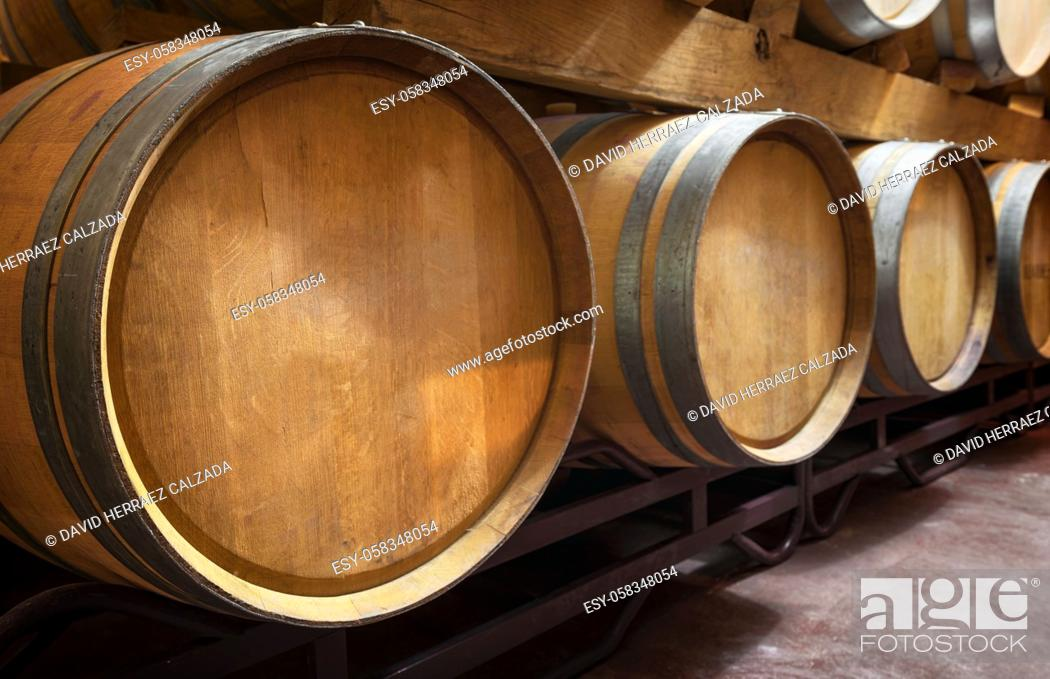 Stock Photo: Cellar with barrels of wine. High quality photo.