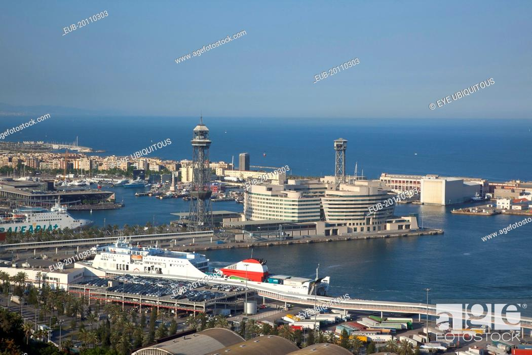 Stock Photo: View over the commercial port from the hilltop Parc du Montjuic.