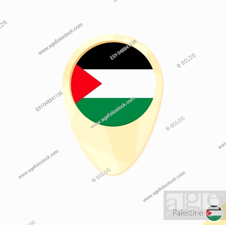Stock Vector: Map pointer with flag of Palestine. Orange abstract map icon. Vector Illustration.