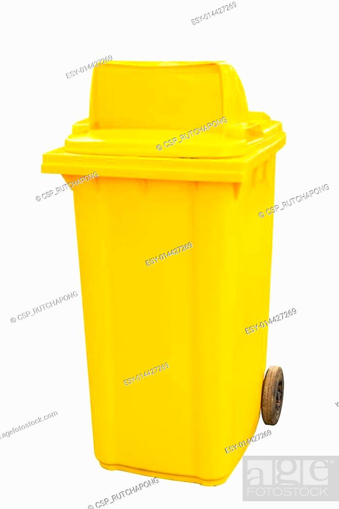 Stock Photo: yellow garbage bins white background.