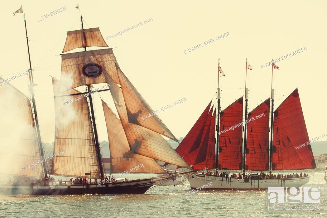 Stock Photo: Two antique sailing schooners crossing paths in San Diego Bay, California.