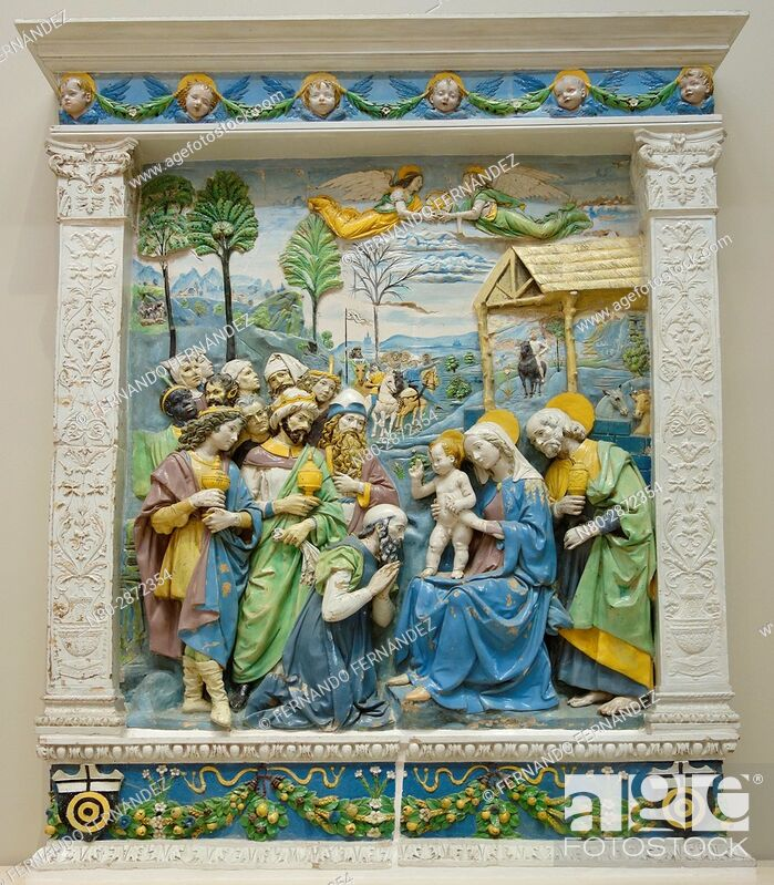 Stock Photo: The Adoration of the Kings. Andrea della Robbia. Tin-glazed terracotta. Italy, Florence. About 1500-1510. The Victoria and Albert Museum. London.