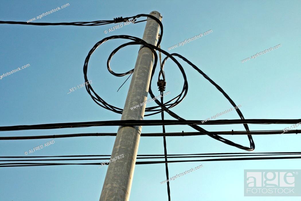 Stock Photo: electric pole, Cubelles, Catalonia, Spain.