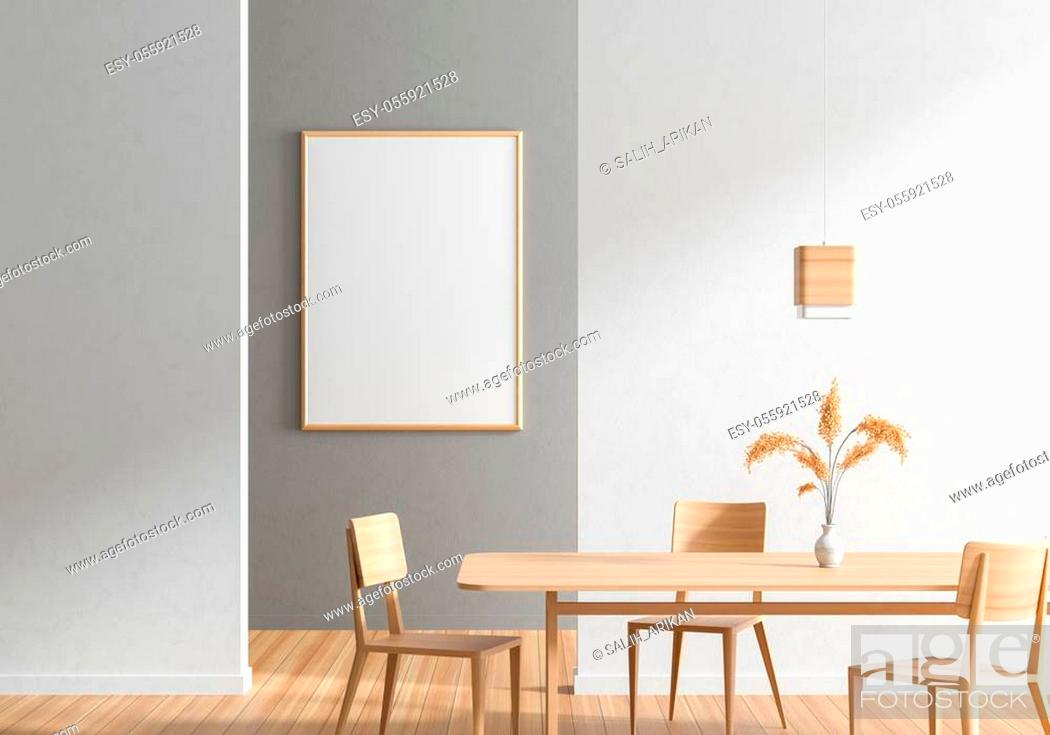 Stock Photo: Mock up poster frame in Scandinavian style dining room with wooden chairs and table. Minimalist dining room design. 3D illustration.