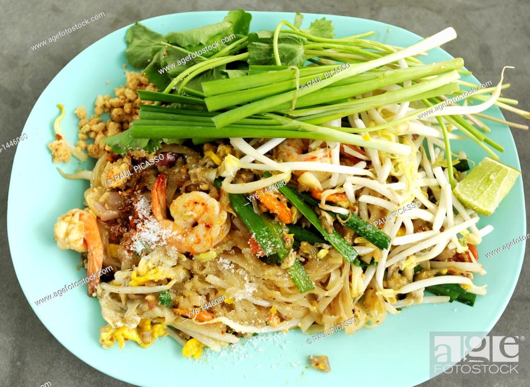 Stock Photo: pad thai, thai speciality dish, food court , bangkok, thailand.