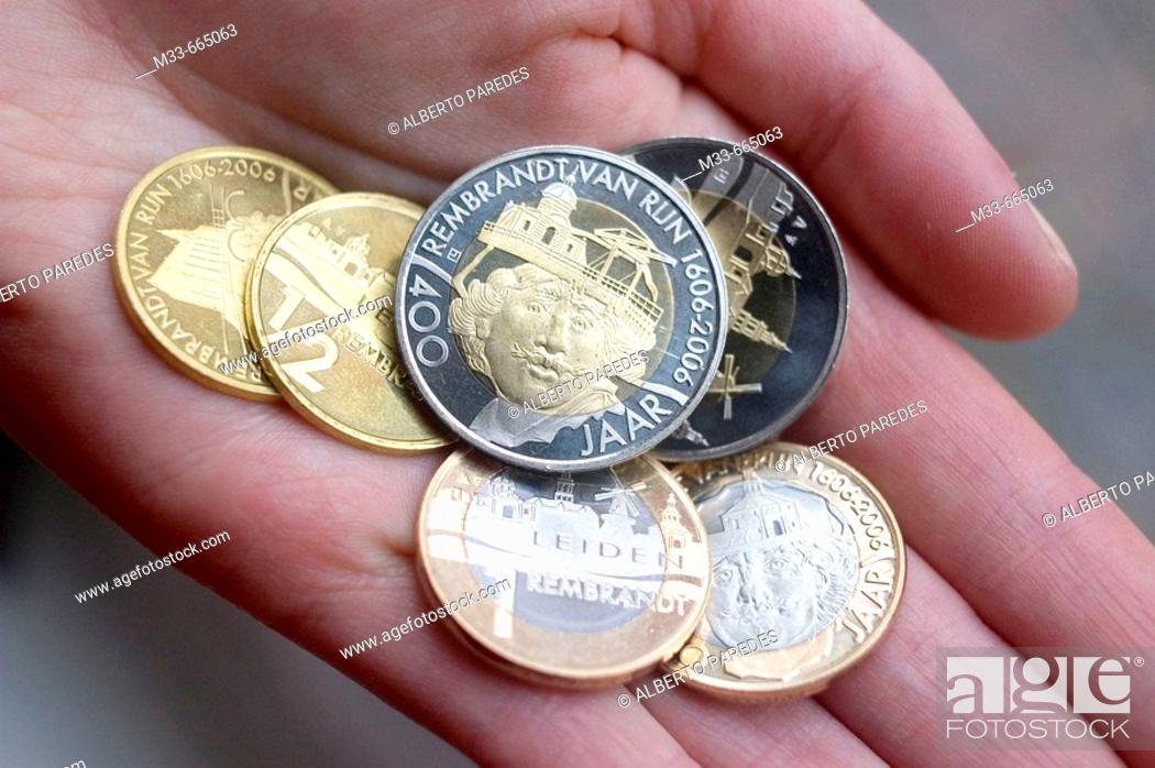 Stock Photo: Netherlands - South Holland - Leiden - Special euros to conmemorate the 400 anniversary of Rembrandt. These euros are useful only in Leiden.
