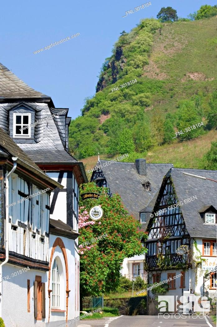 Stock Photo: Half-timber houses in Rissbach, Traben-Trarbach, Rhineland-Palatinate, Germany.
