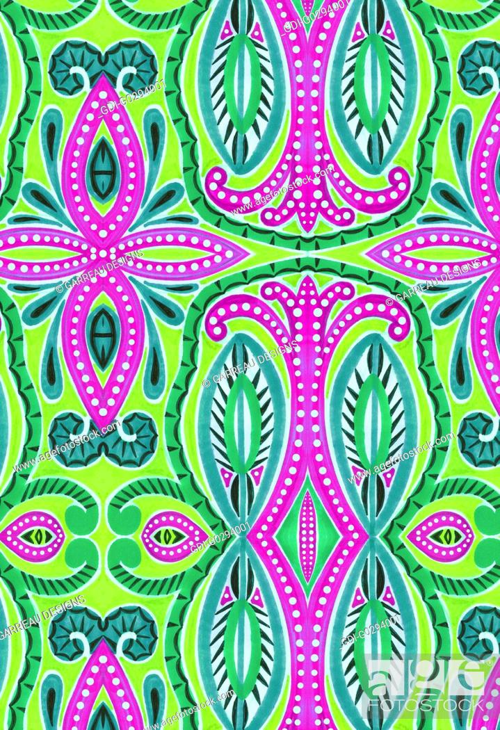 Imagen: Bright green and magenta abstract design.