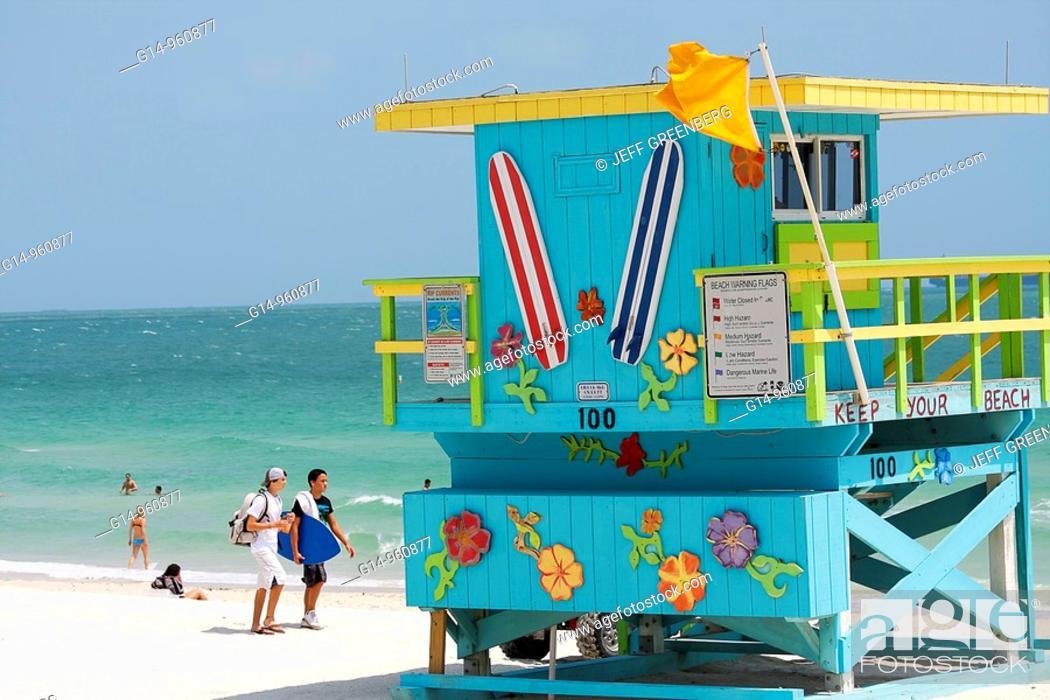 Florida, Miami Beach, Atlantic Ocean, public beach, sand
