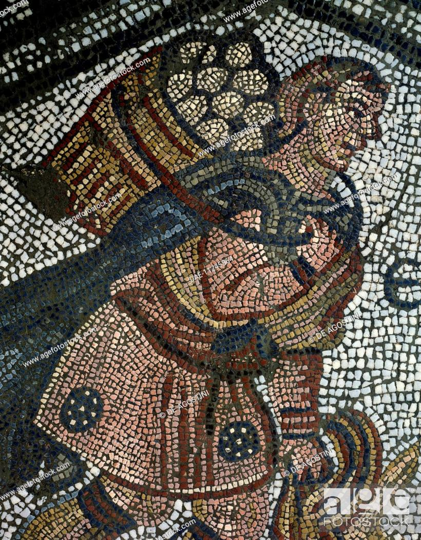 Stock Photo: Young farmer, detail from a mosaic from the Palace of the Emperors of Byzantium. Byzantine civilisation, 5th century.  Istanbul, Mozaik Muzesi (Mosaic Museum).