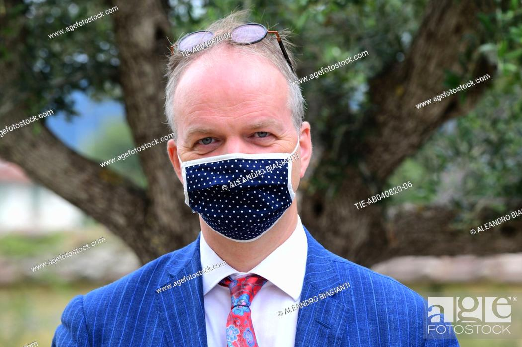 Stock Photo: Eike Schmidt director Uffizi Museums during the presentation of the artwork ' Give ' to the Boboli Gardens , Florence, ITALY-04-08-2020.
