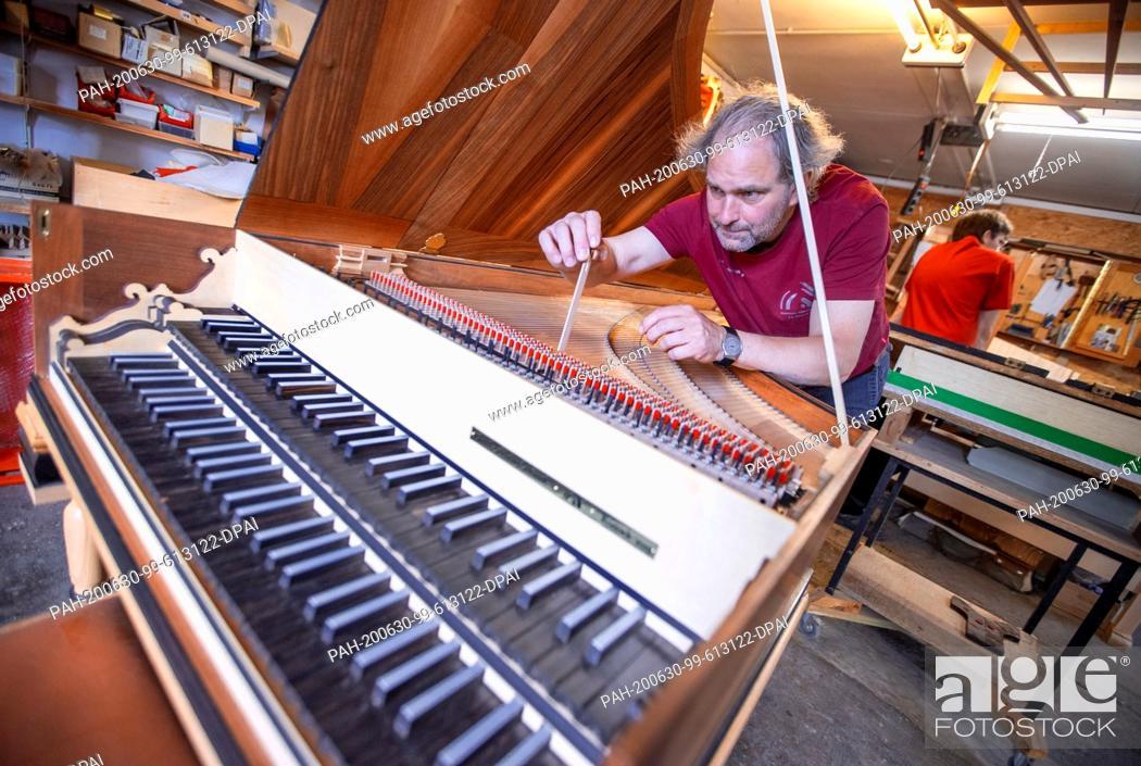 Stock Photo: 22 June 2020, Mecklenburg-Western Pomerania, Rostock: Instrument maker Johann-Gottfried Schmidt is working on a replica of a harpsichord after Michael Mietke.