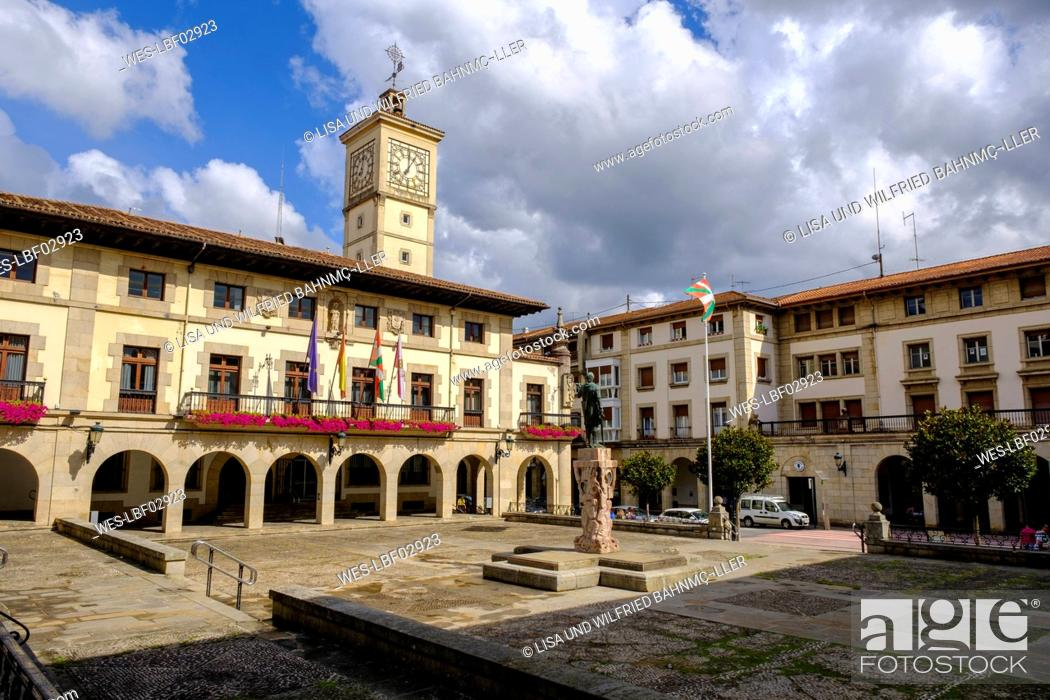 Stock Photo: Spain, Biscay, Guernica, Foru Plaza town square.