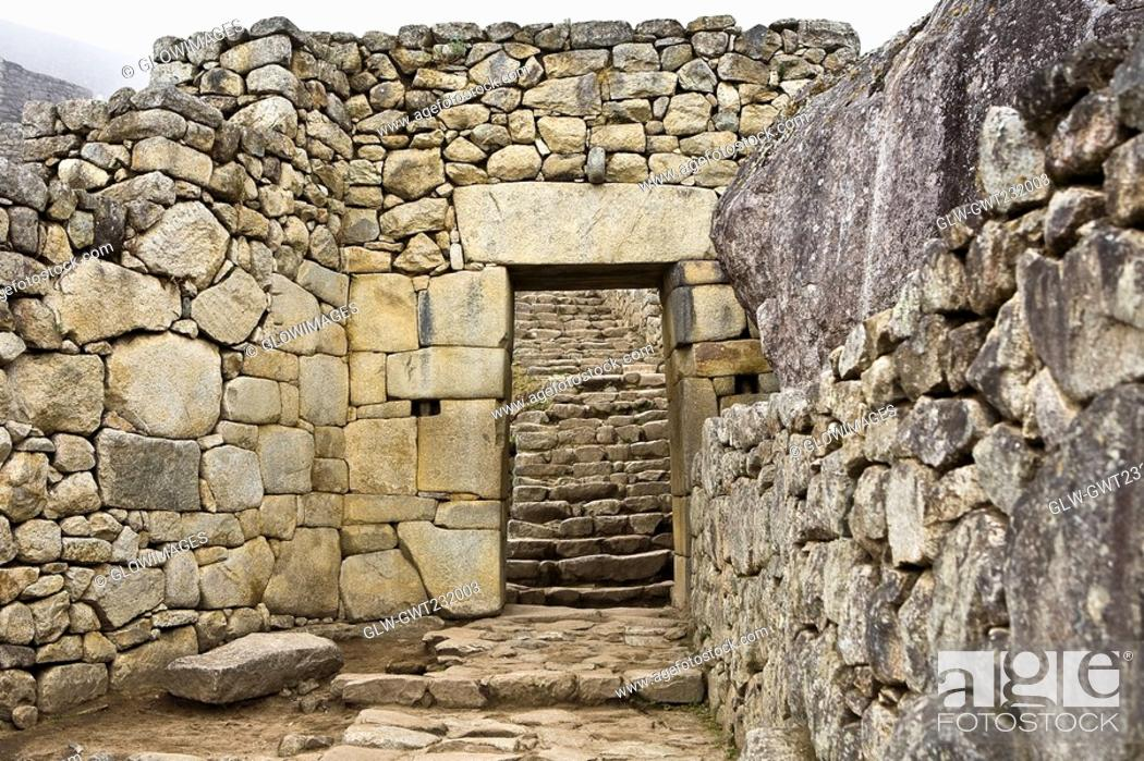 Stock Photo: Old ruins of a building, Machu Picchu, Cusco Region, Peru.