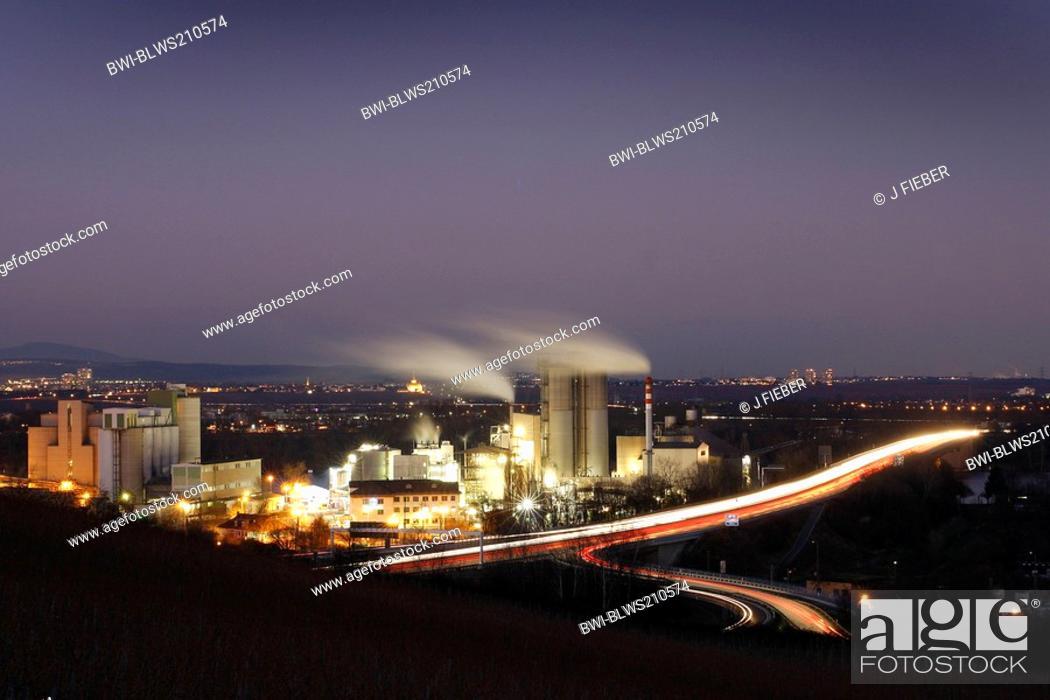 Stock Photo: illuminated cement mill in the city, Germany, Rhineland-Palatinate, Mainz-Laubenheim.