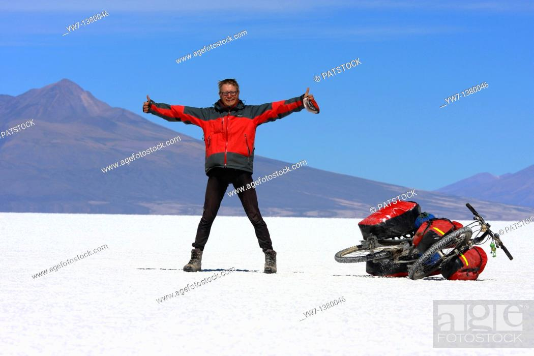Stock Photo: Bike on Salar de Coipasa in Bolivia.