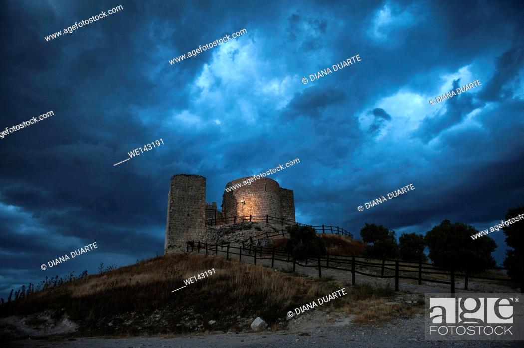 """Stock Photo: The castle is also known as """"""""the Castle of El Cid"""""""" as tradition htas it that it was conquered by El Cid. Jadraque, Guadalajara, Spain."""