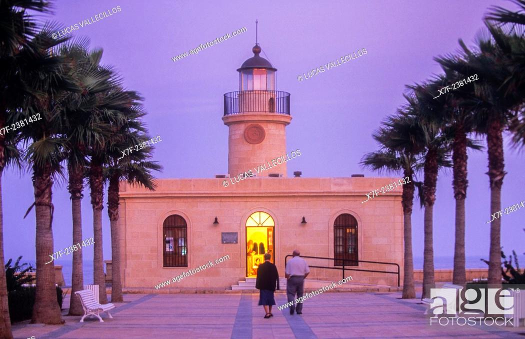 Stock Photo: Lighthouse, Roquetas de Mar.Almeria province, Andalucia, Spain.