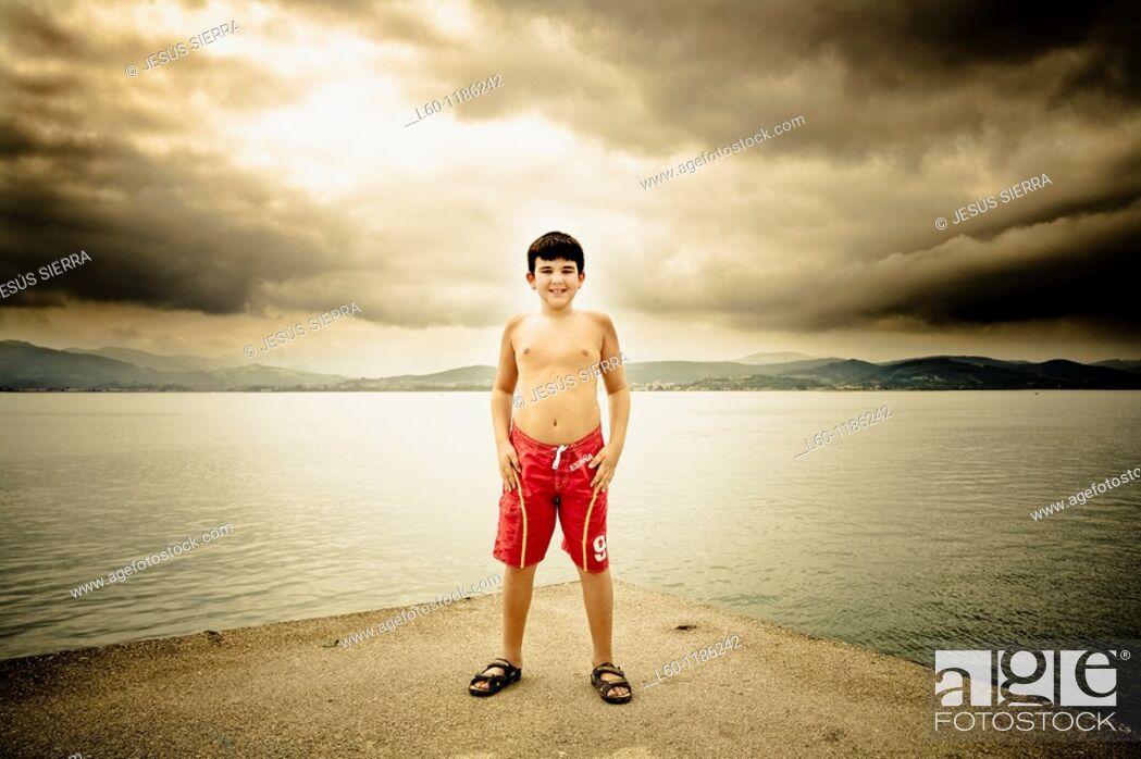 Stock Photo: Boy in Santoña, Cantabria, Spain.