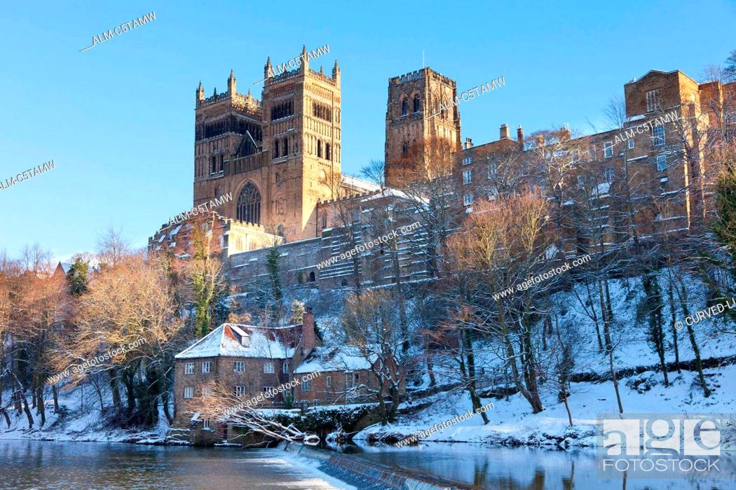 Stock Photo: Durham Cathedral in the winter snow England UK.