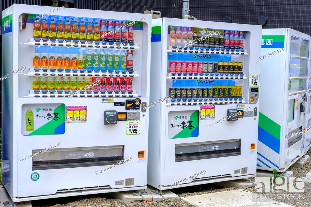 Stock Photo: Typical soft drink vending machines in Tokyo, Japan.