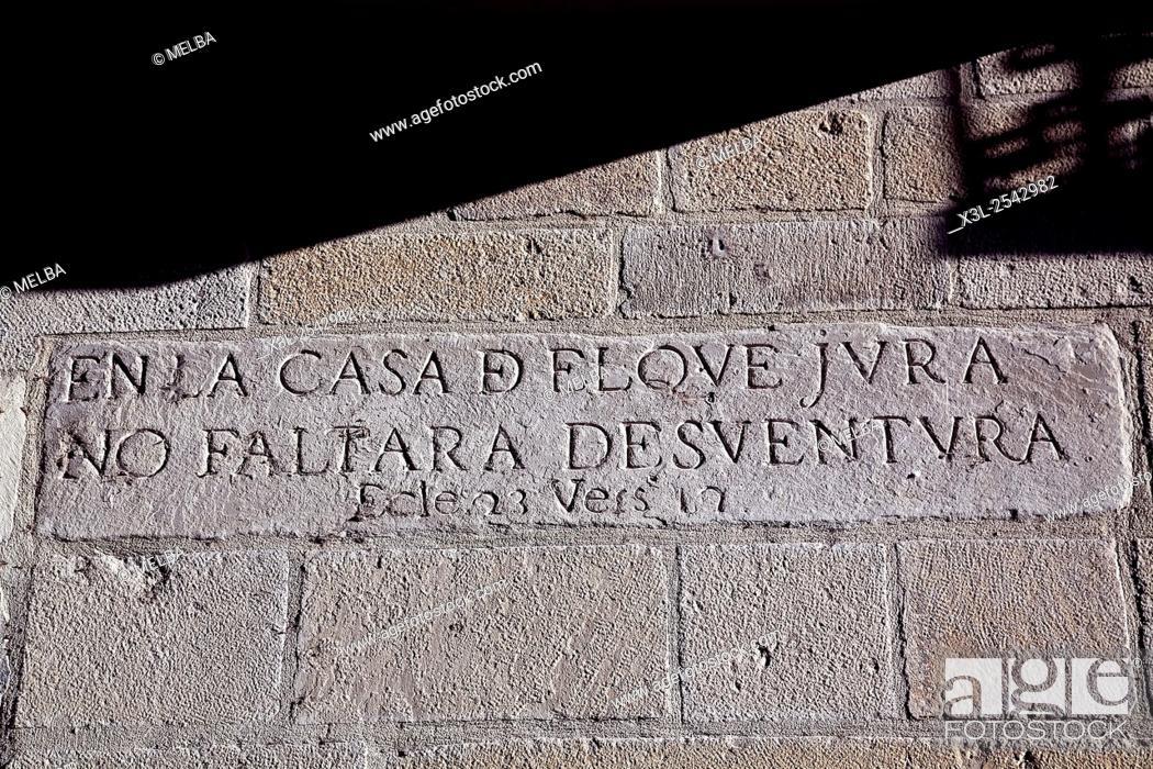 Stock Photo: Writting ingraving. Puente la Reina Gares. Navarre, Spain.
