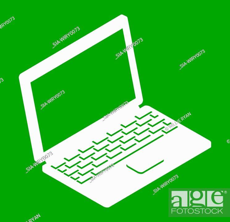 Imagen: Laptop on green background.