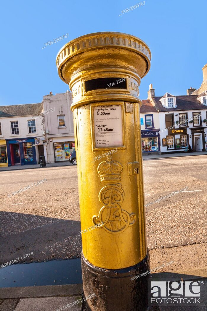 Stock Photo: The red post box in Scott Brash's home town of Peebles was painted gold following his Olympic gold medal win in 2012.