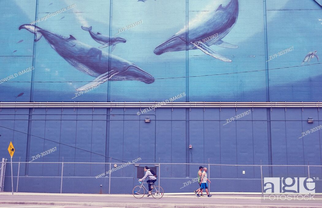 "Stock Photo: """"""""""Heavenly Waters"""" mural, Toronto, Ontario, Canada. . Painted on the side of the Redpath sugar factory as part of the whaling series by Wyland to change."